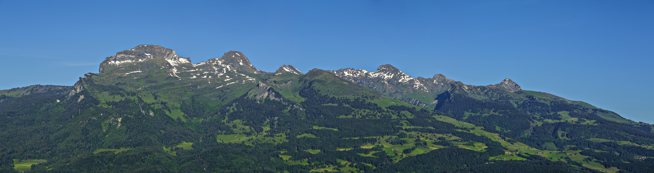 Swiss-Mountains seen from above Triesen, Rheintal, Rhine-valley, Liechtenstein.
